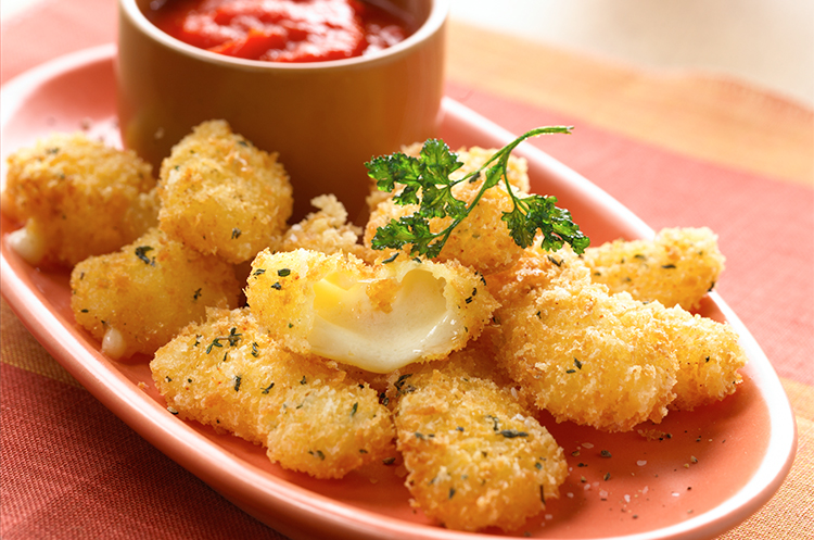 cheddar cheese curds roasted tomato coulis