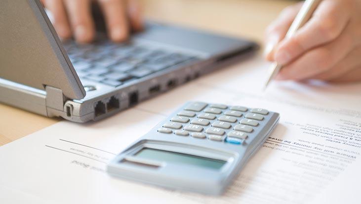 business calculator laptop