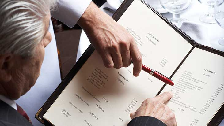 gentleman reading menu