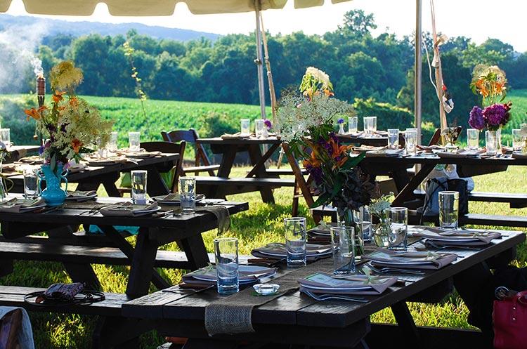 tables farm dinner