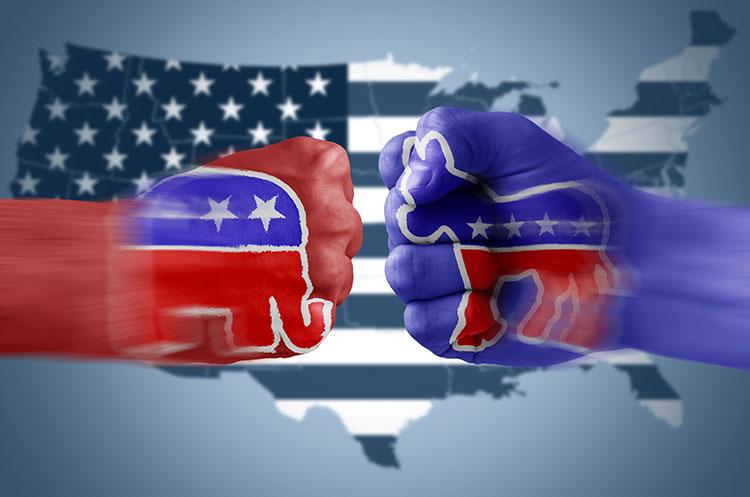 usa republicans democrats fists